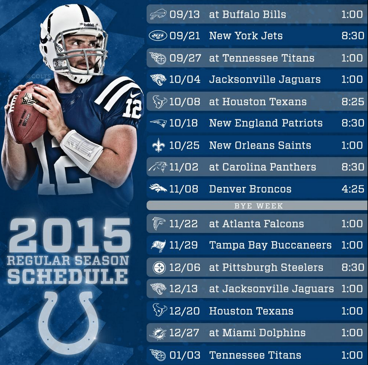 image regarding Colts Schedule Printable called Indianapolis Colts 2015 Program Disclosed